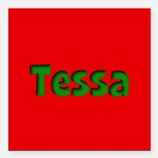 "Tessa Red and Green Square Car Magnet 3"" x 3"""
