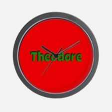 Theodore Red and Green Wall Clock