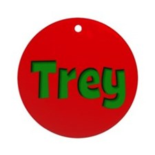 Trey Red and Green Ornament (Round)