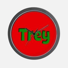Trey Red and Green Wall Clock