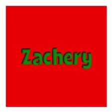 """Zachery Red and Green Square Car Magnet 3"""" x 3"""""""