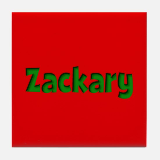 Zackary Red and Green Tile Coaster