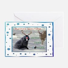 Rudolph Newfy and Wildlife Friends Greeting Card
