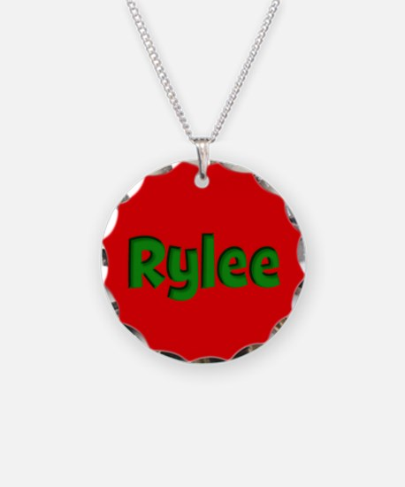 Rylee Red and Green Necklace Circle Charm
