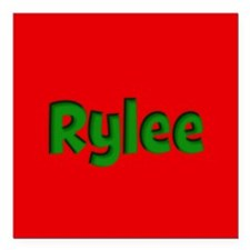 "Rylee Red and Green Square Car Magnet 3"" x 3"""