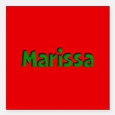"""Marissa Red and Green Square Car Magnet 3"""" x 3"""""""