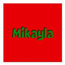 """Mikayla Red and Green Square Car Magnet 3"""" x 3"""""""