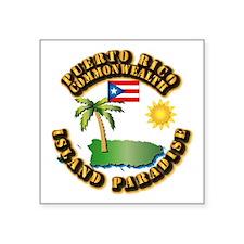 "Puerto Rico - Island Paradise Square Sticker 3"" x"