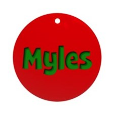 Myles Red and Green Ornament (Round)