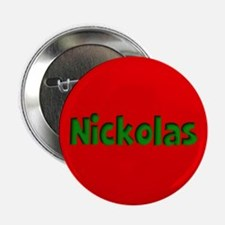 "Nickolas Red and Green 2.25"" Button"