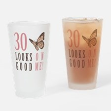 30th Birthday Butterfly Drinking Glass