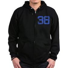 38, Blue, Vintage Zip Hoodie