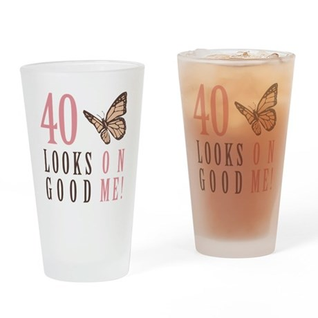 40th Birthday Butterfly Drinking Glass