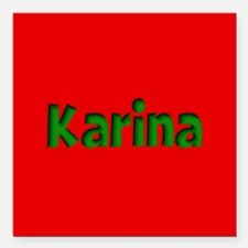 """Karina Red and Green Square Car Magnet 3"""" x 3"""""""