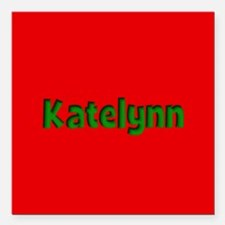 "Katelynn Red and Green Square Car Magnet 3"" x 3"""