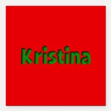 """Kristina Red and Green Square Car Magnet 3"""" x 3"""""""