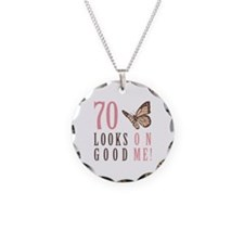 70th Birthday Butterfly Necklace Circle Charm