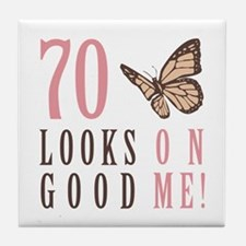 70th Birthday Butterfly Tile Coaster