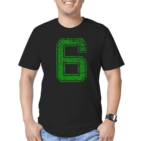 6, Green, Vintage Men's Fitted T-Shirt (dark)