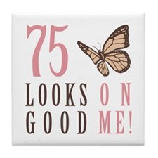 75th Birthday Butterfly Tile Coaster