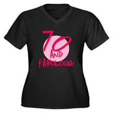 70 And Fabulous Women's Plus Size V-Neck Dark T-Sh