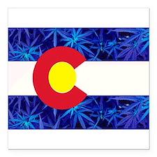 New Colorado State Marijuana Flag Square Car Magne