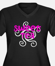 Sweet Tea Women's Plus Size V-Neck Dark T-Shirt