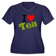 I Love Tea Women's Plus Size V-Neck Dark T-Shirt
