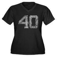 40, Grey, Vintage Women's Plus Size V-Neck Dark T-