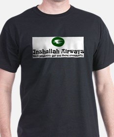 Inshallah Airways Black T-Shirt