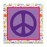 Peace Sign Flowered Gift Tile Coaster