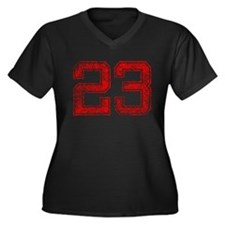23, Red, Vintage Women's Plus Size V-Neck Dark T-S