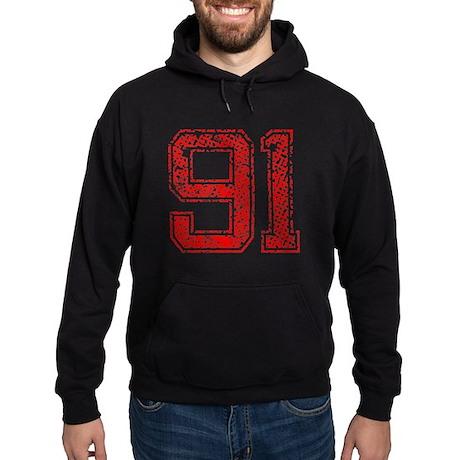 91, Red, Vintage Hoodie (dark)