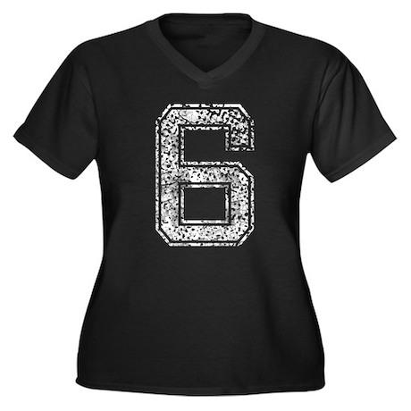 6, Vintage Women's Plus Size V-Neck Dark T-Shirt