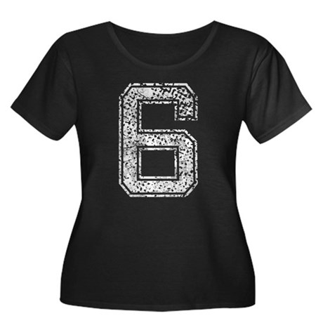 6, Vintage Women's Plus Size Scoop Neck Dark T-Shi