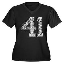 41, Vintage Women's Plus Size V-Neck Dark T-Shirt