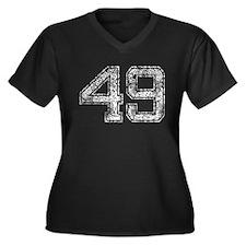 49, Vintage Women's Plus Size V-Neck Dark T-Shirt