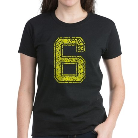6, Yellow, Vintage Women's Dark T-Shirt