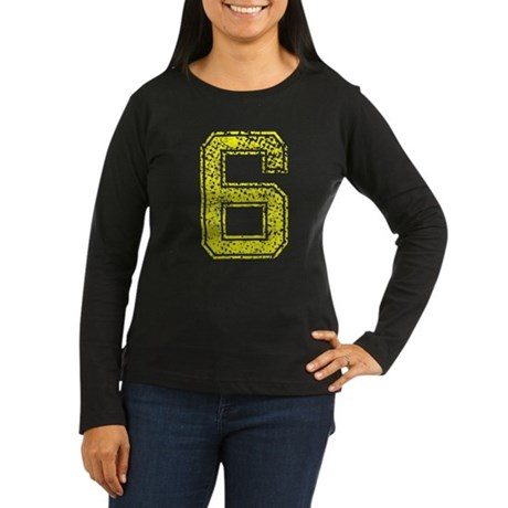 6, Yellow, Vintage Women's Long Sleeve Dark T-Shir
