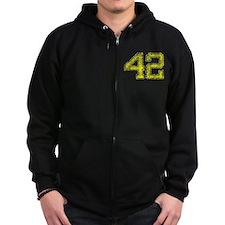 42, Yellow, Vintage Zip Hoodie