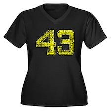 43, Yellow, Vintage Women's Plus Size V-Neck Dark