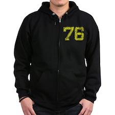 76, Yellow, Vintage Zip Hoodie