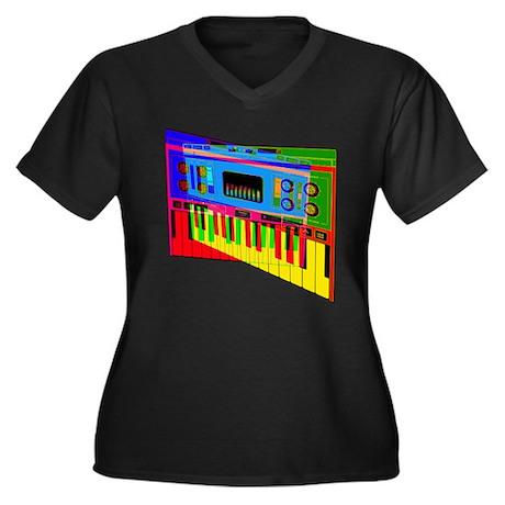 MIDI MAX Women's Plus Size V-Neck Dark T-Shirt