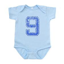 9, Blue, Vintage Infant Bodysuit