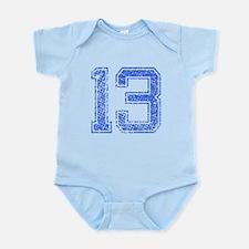 13, Blue, Vintage Infant Bodysuit