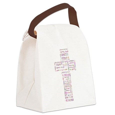 Jesus' Names Cross (pink colorful) Canvas Lunch Ba