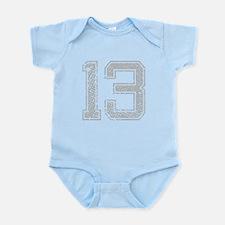 13, Grey, Vintage Infant Bodysuit