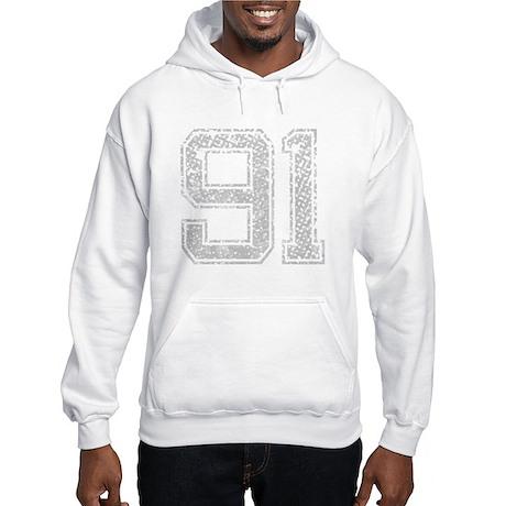 91, Grey, Vintage Hooded Sweatshirt
