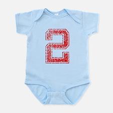 2, Red, Vintage Infant Bodysuit