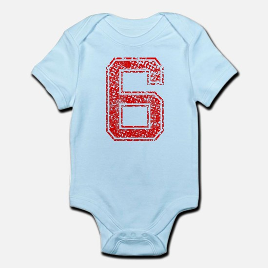 6, Red, Vintage Infant Bodysuit